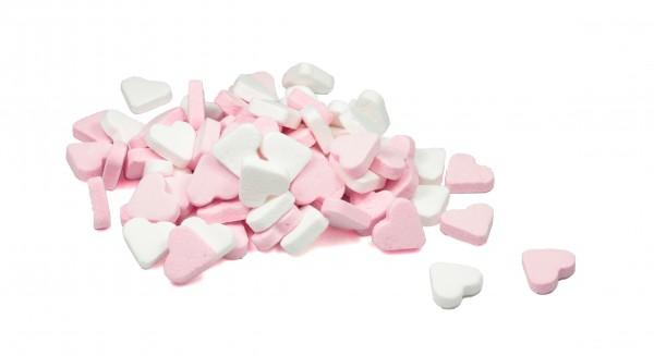 Minz Herzen rosa/weiß