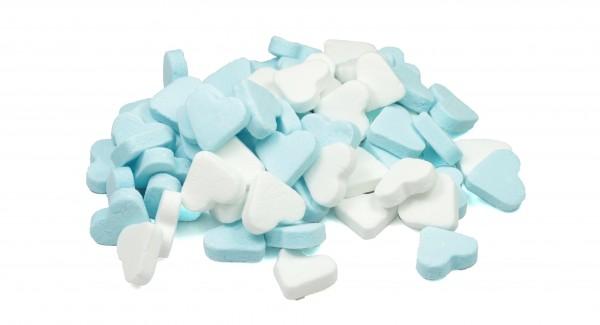 Minz Herzen blau/weiß
