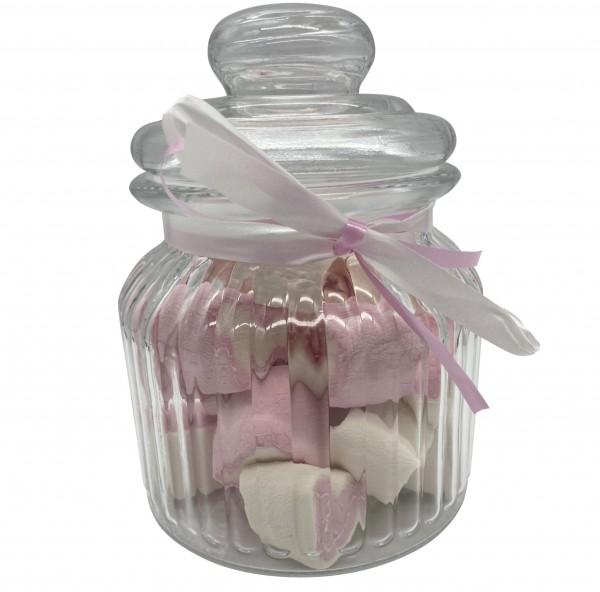 Naschi-Glas Mellow Herzen Pinky klein