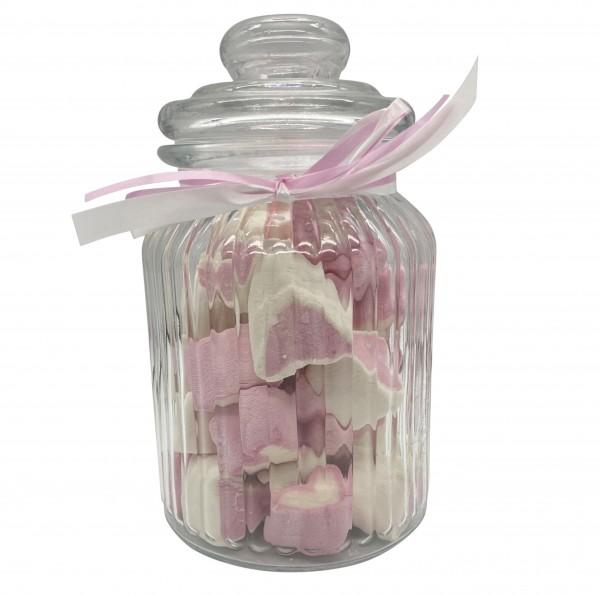 Naschi-Glas Mellow Herzen Pinky mittel